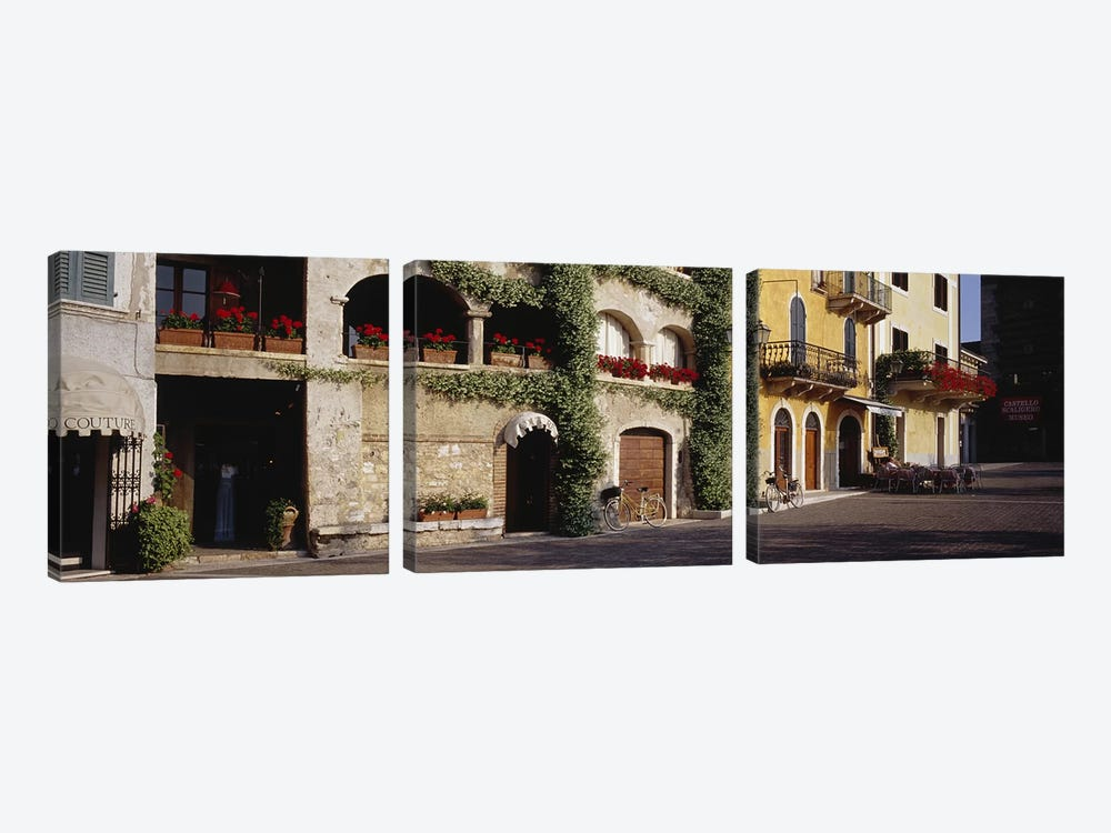 Cobblestone Lane Featuring Terrace Flower Boxes, Torri del Benaco, Verona, Italy 3-piece Canvas Artwork