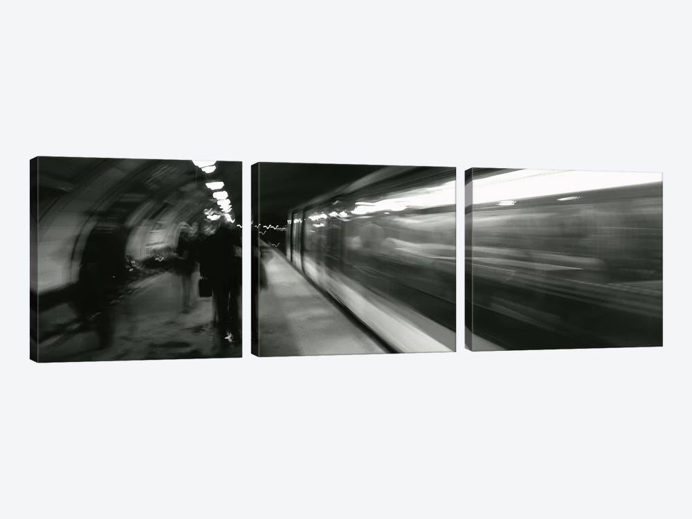 Subway Station Blurred Motion, London, England, United Kingdom by Panoramic Images 3-piece Canvas Print