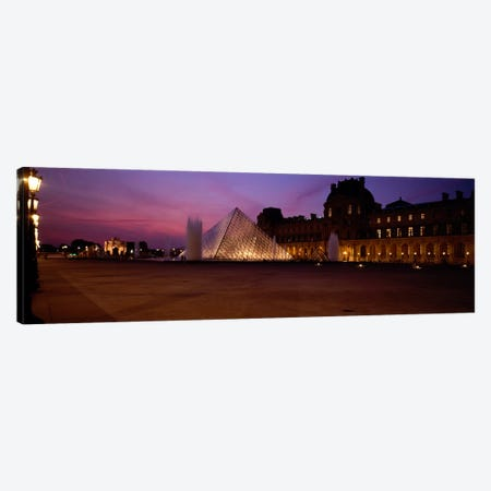 Pyramid lit up at night, Louvre Pyramid, Musee Du Louvre, Paris, Ile-de-France, France Canvas Print #PIM460} by Panoramic Images Canvas Wall Art