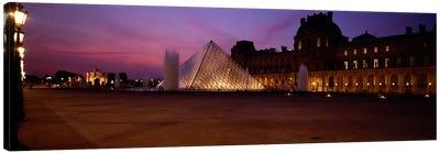 Pyramid lit up at night, Louvre Pyramid, Musee Du Louvre, Paris, Ile-de-France, France Canvas Print #PIM460