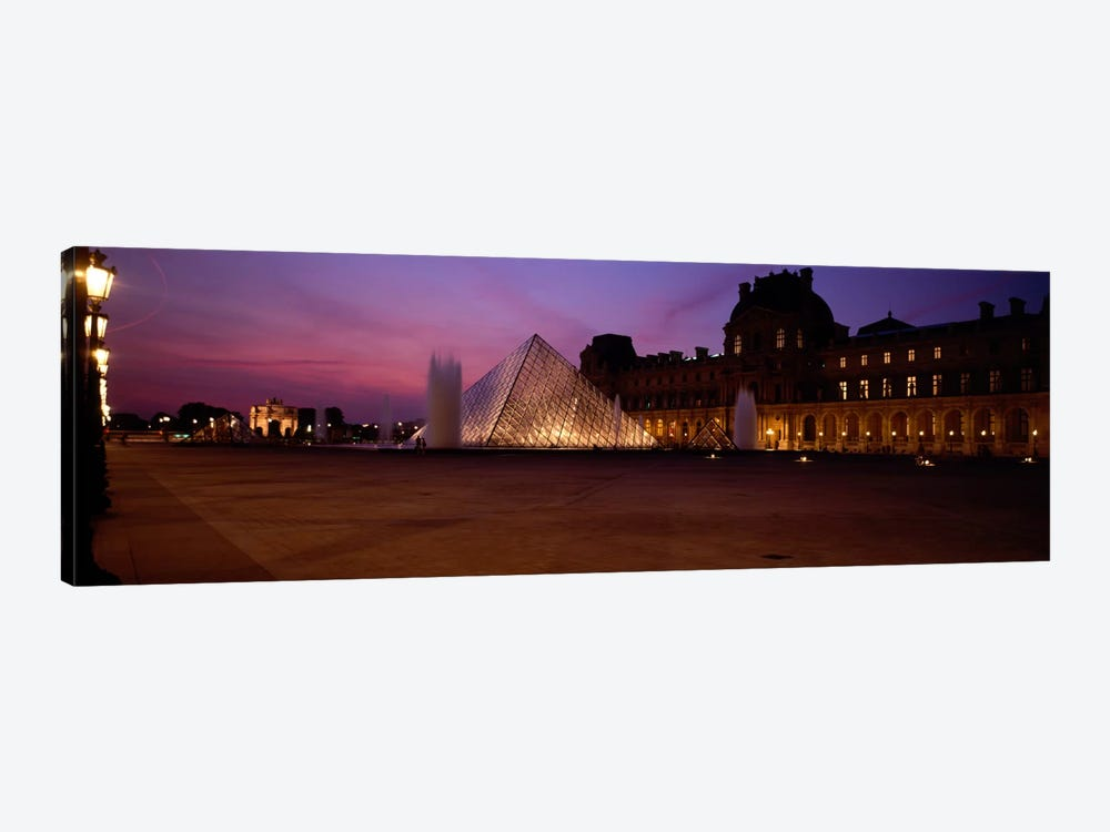 Pyramid lit up at night, Louvre Pyramid, Musee Du Louvre, Paris, Ile-de-France, France by Panoramic Images 1-piece Canvas Art Print