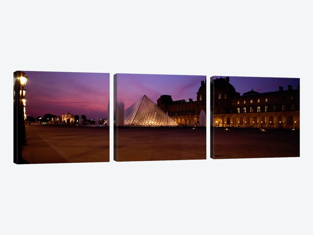Pyramid lit up at night, Louvre Pyramid, Musee Du Louvre, Paris, Ile-de-France, France by Panoramic Images 3-piece Art Print