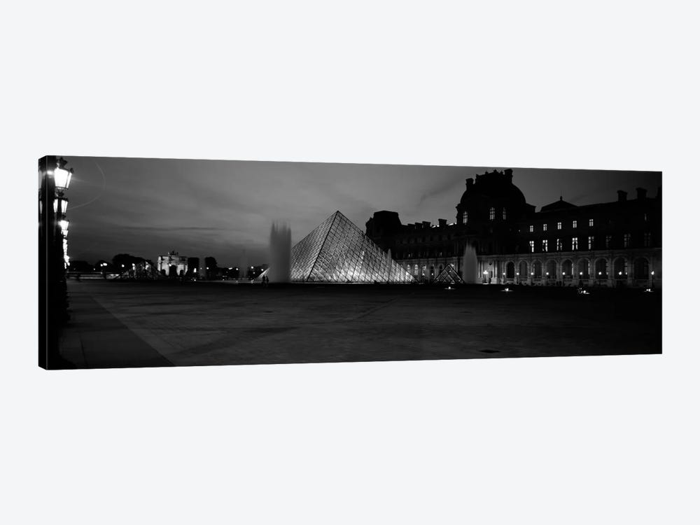 Pyramid lit up at night, Louvre Pyramid, Musee Du Louvre, Paris, Ile-de-France, France (black & white) by Panoramic Images 1-piece Canvas Art Print