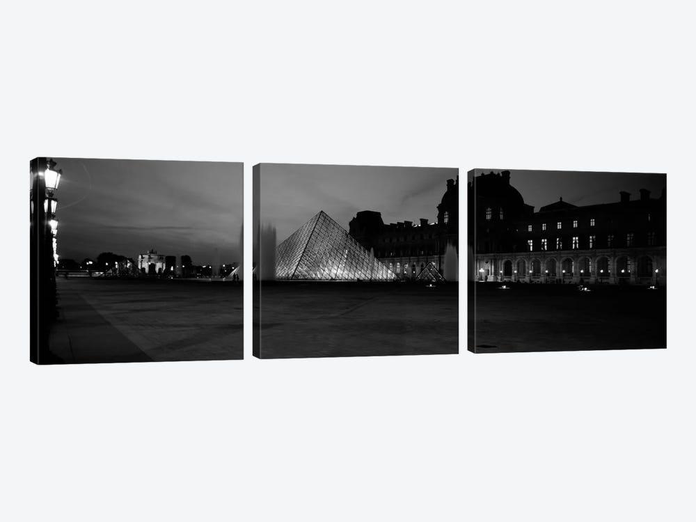 Pyramid lit up at night, Louvre Pyramid, Musee Du Louvre, Paris, Ile-de-France, France (black & white) 3-piece Canvas Print