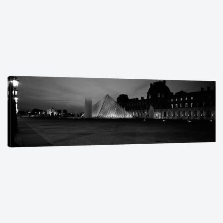 Pyramid lit up at night, Louvre Pyramid, Musee Du Louvre, Paris, Ile-de-France, France (black & white) Canvas Print #PIM460bw} by Panoramic Images Canvas Art Print