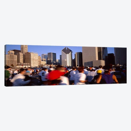 Group of people running a marathon, Chicago, Illinois, USA Canvas Print #PIM4611} by Panoramic Images Canvas Artwork
