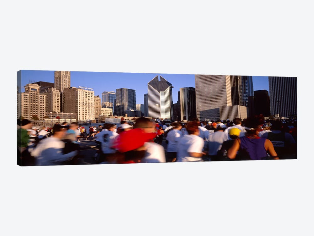 Group of people running a marathon, Chicago, Illinois, USA by Panoramic Images 1-piece Canvas Artwork
