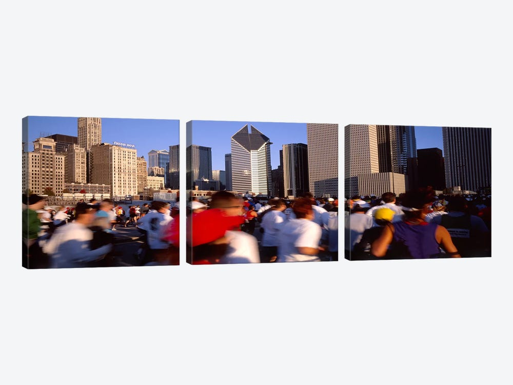 Group of people running a marathon, Chicago, Illinois, USA by Panoramic Images 3-piece Canvas Wall Art