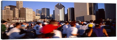 Group of people running a marathon, Chicago, Illinois, USA Canvas Art Print