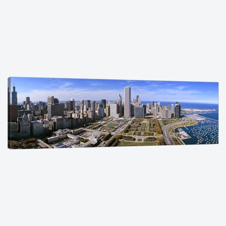 USA, Illinois, Chicago, Millennium Park, Pritzker Pavilion, aerial view of a city Canvas Print #PIM4613} by Panoramic Images Canvas Artwork