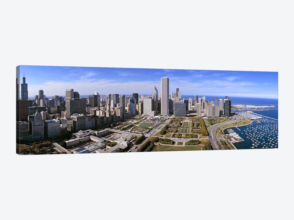 USA, Illinois, Chicago, Millennium Park, Pritzker Pavilion, aerial view of a city by Panoramic Images 1-piece Canvas Art