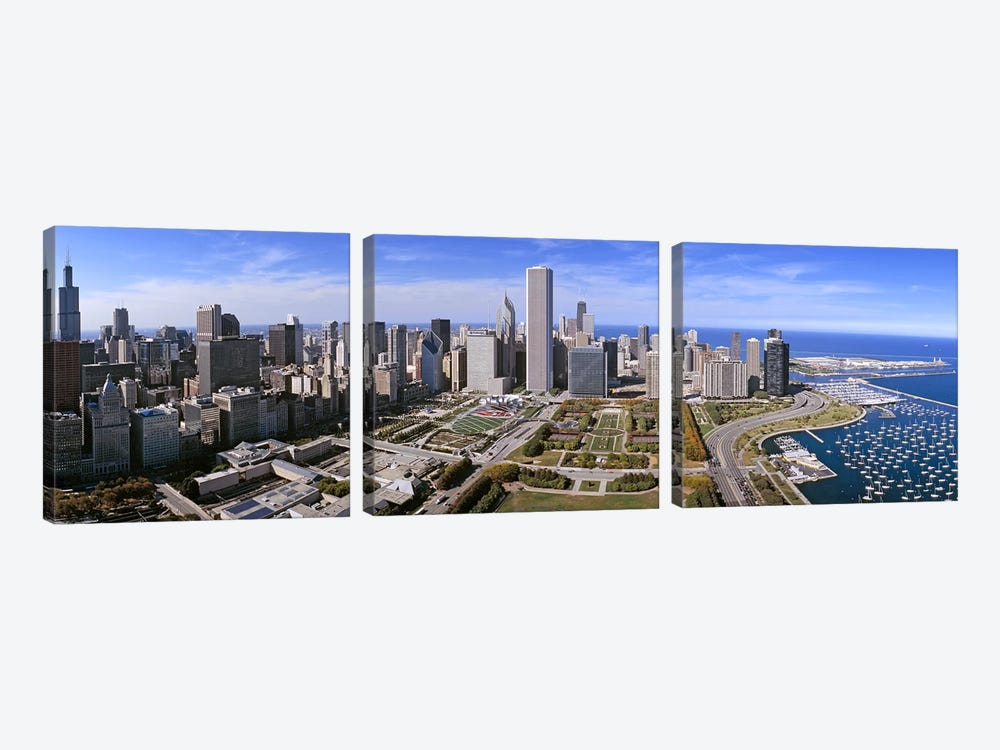 USA, Illinois, Chicago, Millennium Park, Pritzker Pavilion, aerial view of a city 3-piece Canvas Art