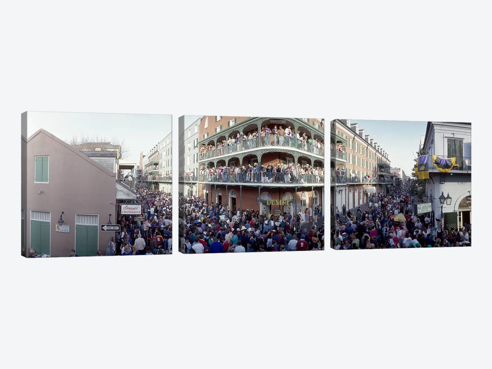 People celebrating Mardi Gras festivalNew Orleans, Louisiana, USA by Panoramic Images 3-piece Art Print