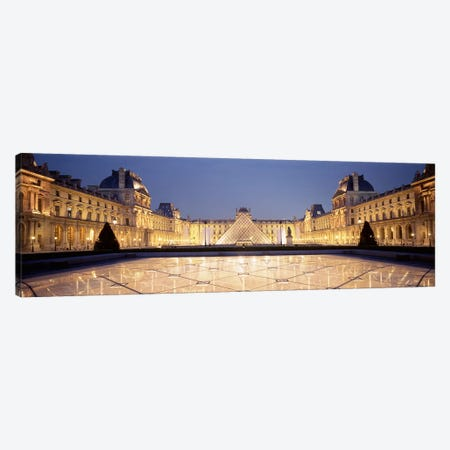 Napolean Courtyard At Night, Palais du Louvre, Paris, Ile-de-France, France Canvas Print #PIM4625} by Panoramic Images Canvas Art