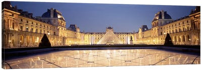 Napolean Courtyard At Night, Palais du Louvre, Paris, Ile-de-France, France Canvas Print #PIM4625