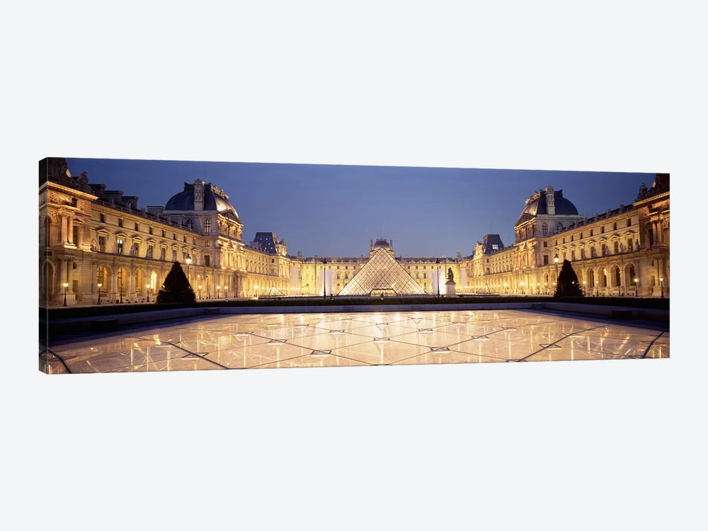 Napolean Courtyard At Night, Palais du Louvre, Paris, Ile-de-France, France by Panoramic Images 1-piece Canvas Print