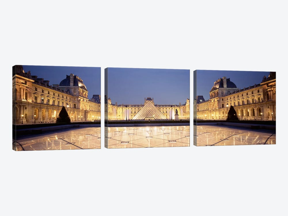 Napolean Courtyard At Night, Palais du Louvre, Paris, Ile-de-France, France by Panoramic Images 3-piece Art Print