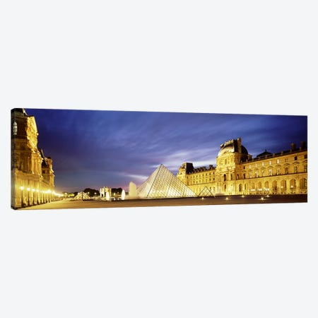 Majestic Sky Over An Illuminated Louvre Museum Complex, Paris, France Canvas Print #PIM4626} by Panoramic Images Canvas Art