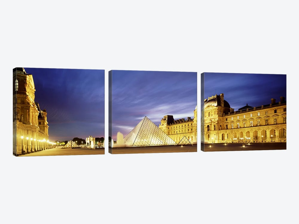 Majestic Sky Over An Illuminated Louvre Museum Complex, Paris, France by Panoramic Images 3-piece Canvas Wall Art