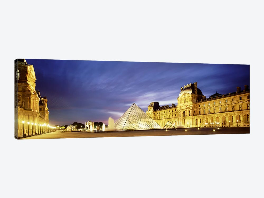 Majestic Sky Over An Illuminated Louvre Museum Complex, Paris, France by Panoramic Images 1-piece Canvas Art
