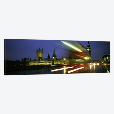 Blurred Motion View Of Nighttime Traffic On Westminster Bridge, London, England, United Kingdom Canvas Print #PIM4630} by Panoramic Images Canvas Artwork