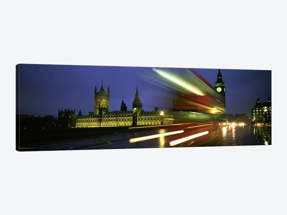 Blurred Motion View Of Nighttime Traffic On Westminster Bridge, London, England, United Kingdom by Panoramic Images 1-piece Canvas Print