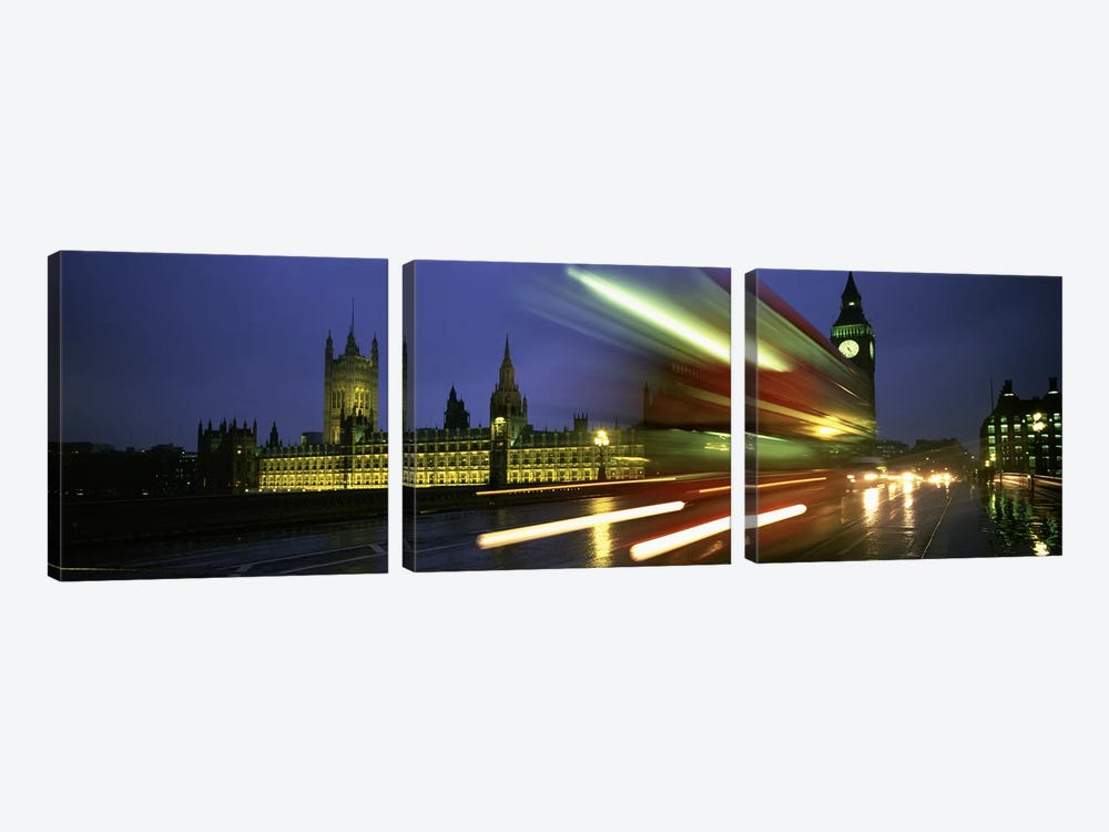 Blurred Motion View Of Nighttime Traffic On Westminster Bridge, London, England, United Kingdom by Panoramic Images 3-piece Art Print