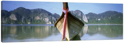 Boat Moored In The WaterPhi Phi Islands, Thailand Canvas Art Print