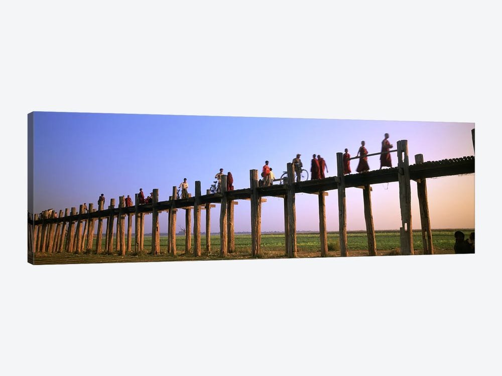 Myanmar, Mandalay, U Bein Bridge, People crossing over the bridge by Panoramic Images 1-piece Canvas Art