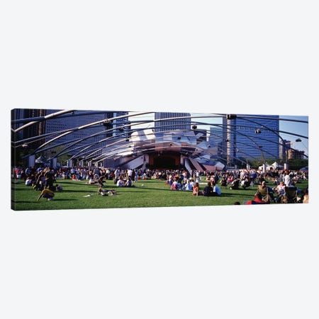 People At A LawnPritzker Pavilion, Millennium Park, Chicago, Illinois, USA Canvas Print #PIM4641} by Panoramic Images Canvas Print
