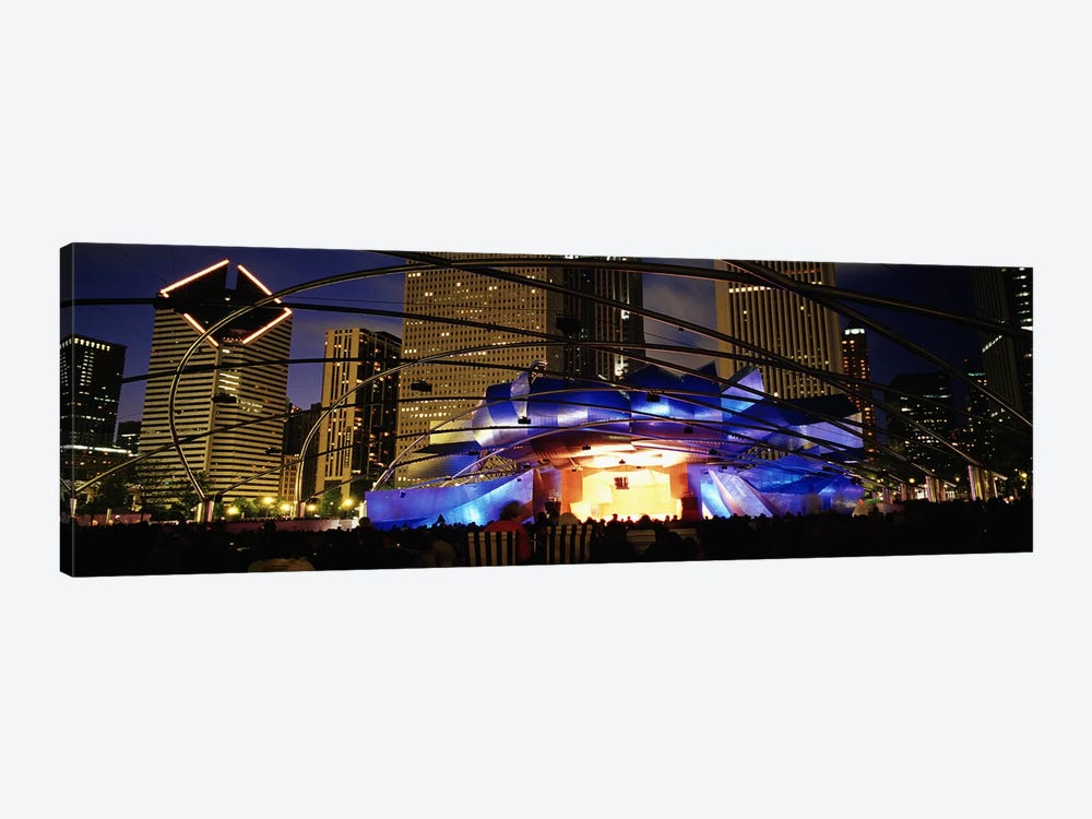 An Illuminated Pritzker Pavilion At Night, Millennium Park, Chicago, Illinois, USA by Panoramic Images 1-piece Art Print
