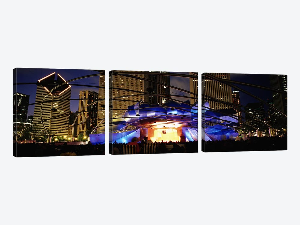 An Illuminated Pritzker Pavilion At Night, Millennium Park, Chicago, Illinois, USA by Panoramic Images 3-piece Canvas Art Print