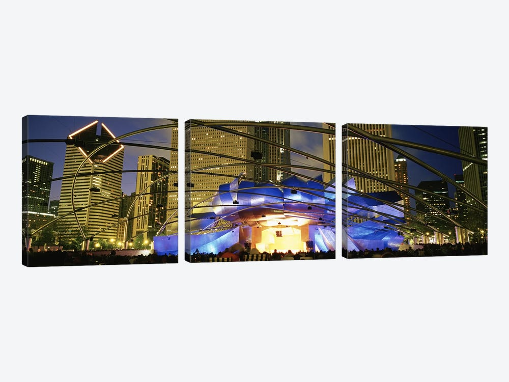 USAIllinois, Chicago, Millennium Park, Pritzker Pavilion, Spectators watching the show 3-piece Canvas Art