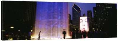 Spectators Watching The Visual Screen, The Crown Fountain, Millennium Park, Chicago, Illinois, USA Canvas Print #PIM4645