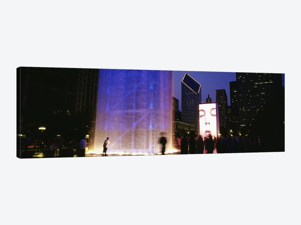 Spectators Watching The Visual Screen, The Crown Fountain, Millennium Park, Chicago, Illinois, USA by Panoramic Images 1-piece Canvas Art Print