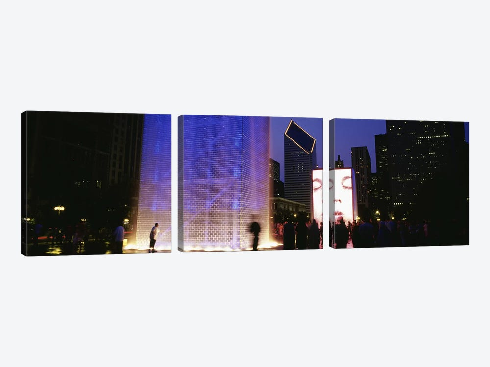 Spectators Watching The Visual Screen, The Crown Fountain, Millennium Park, Chicago, Illinois, USA by Panoramic Images 3-piece Art Print