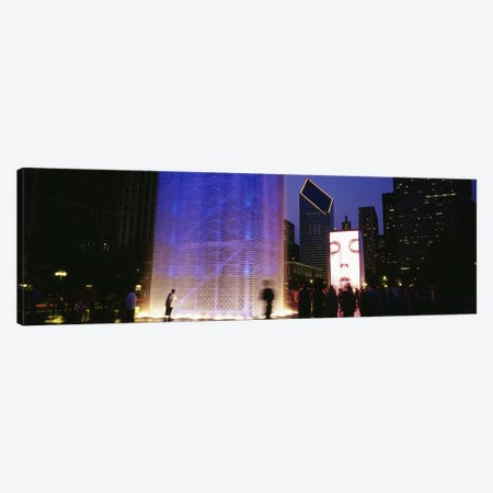 Spectators Watching The Visual Screen, The Crown Fountain, Millennium Park, Chicago, Illinois, USA Canvas Print #PIM4645} by Panoramic Images Canvas Wall Art