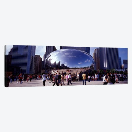 USAIllinois, Chicago, Millennium Park, SBC Plaza, Tourists walking in the park Canvas Print #PIM4646} by Panoramic Images Canvas Wall Art
