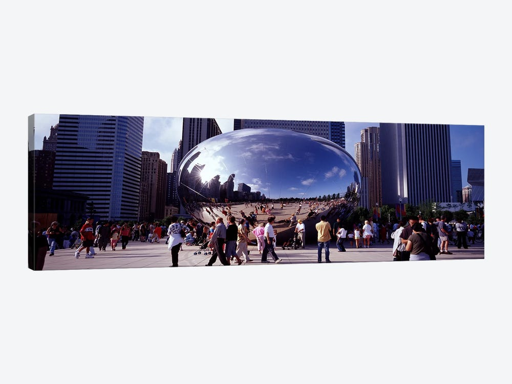 USAIllinois, Chicago, Millennium Park, SBC Plaza, Tourists walking in the park by Panoramic Images 1-piece Canvas Artwork