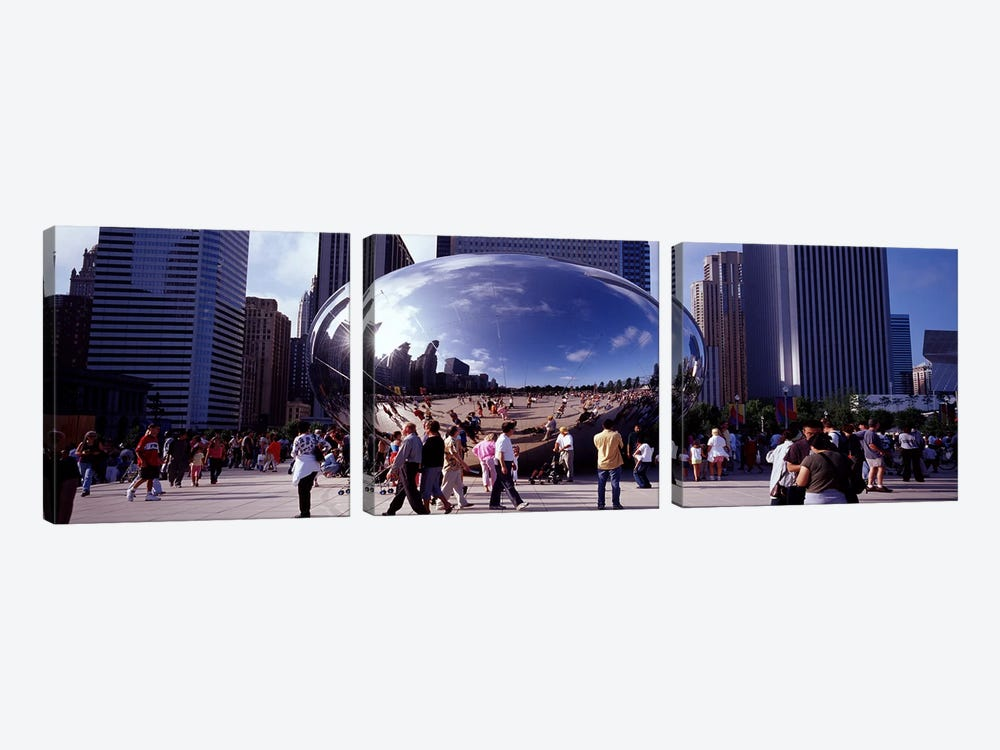 USAIllinois, Chicago, Millennium Park, SBC Plaza, Tourists walking in the park 3-piece Canvas Art