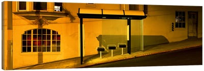 USACalifornia, San Francisco, Bus stop at night Canvas Print #PIM4649