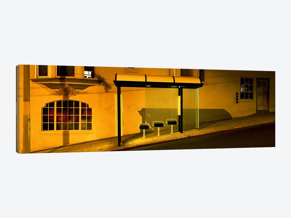 USACalifornia, San Francisco, Bus stop at night by Panoramic Images 1-piece Art Print