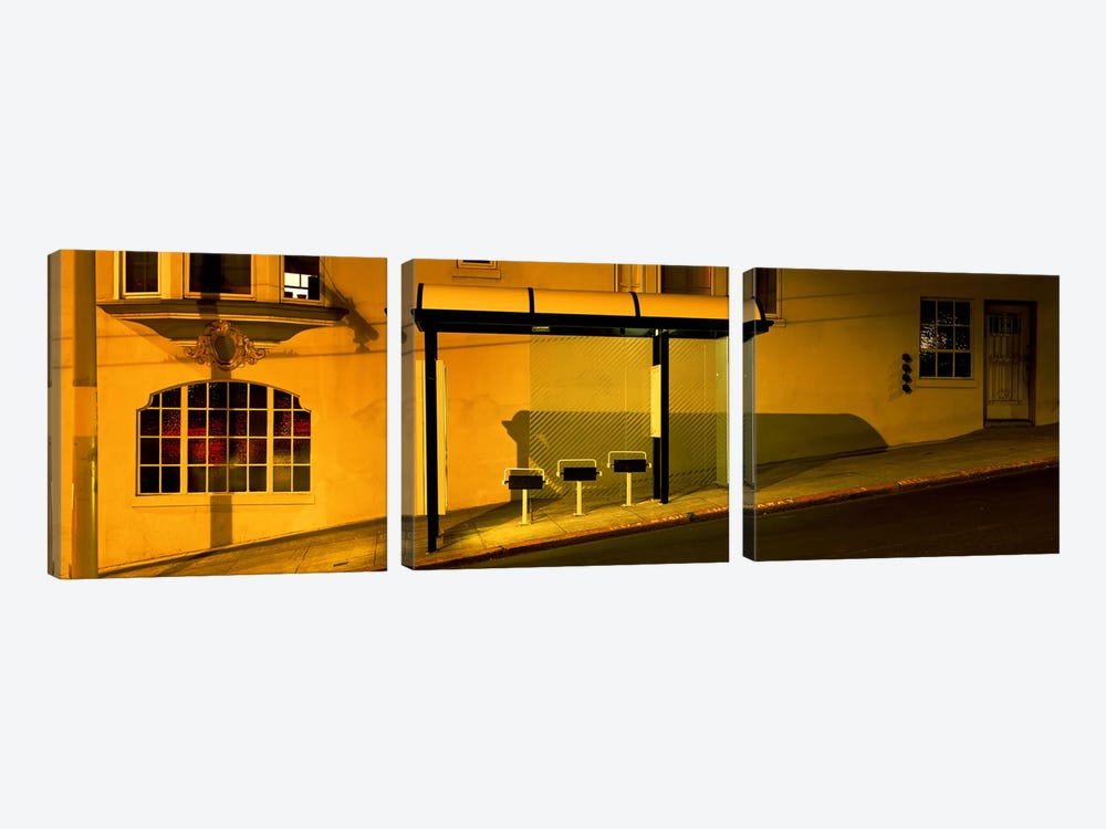 USACalifornia, San Francisco, Bus stop at night by Panoramic Images 3-piece Canvas Print