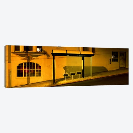 USACalifornia, San Francisco, Bus stop at night Canvas Print #PIM4649} by Panoramic Images Canvas Print