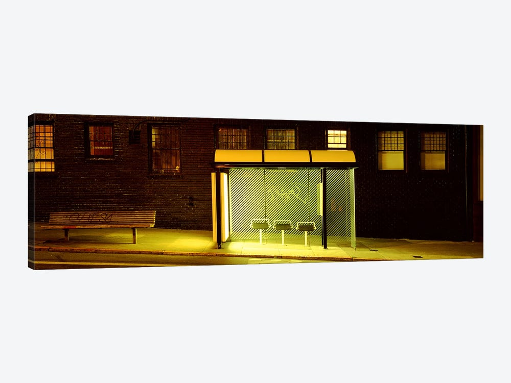 Bus Stop At Night, San Francisco, California, USA 1-piece Canvas Print