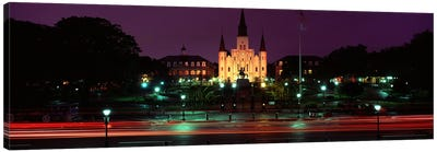 Buildings lit up at night, Jackson Square, St. Louis Cathedral, French Quarter, New Orleans, Louisiana, USA Canvas Art Print