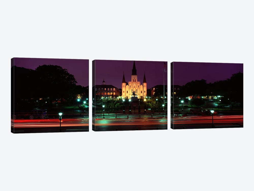 Buildings lit up at night, Jackson Square, St. Louis Cathedral, French Quarter, New Orleans, Louisiana, USA by Panoramic Images 3-piece Art Print