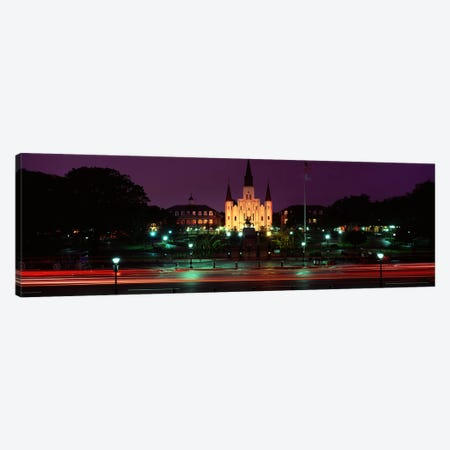 Buildings lit up at night, Jackson Square, St. Louis Cathedral, French Quarter, New Orleans, Louisiana, USA Canvas Print #PIM4658} by Panoramic Images Canvas Wall Art