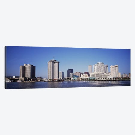 Buildings at the waterfront, Mississippi River, New Orleans, Louisiana, USA Canvas Print #PIM4659} by Panoramic Images Canvas Artwork