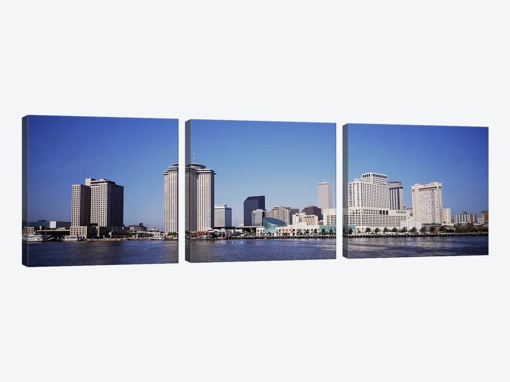 Buildings at the waterfront, Mississippi River, New Orleans, Louisiana, USA by Panoramic Images 3-piece Canvas Wall Art
